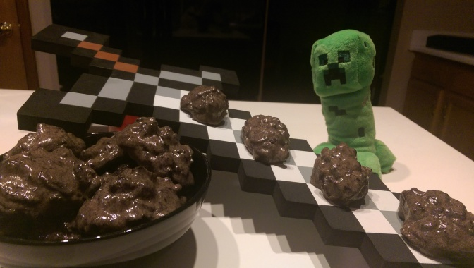 Naughty or Nice? Cookies and cream Minecraft Coal for Christmas.