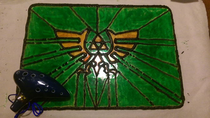 Legend of Zelda Triforce Stained Sugar Glass