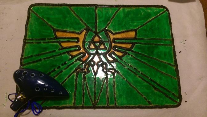Legend of Zelda Triforce Stained Sugar Glass