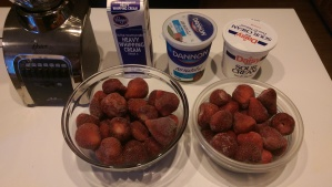 Note: Two batches pictured, best way I could find to thaw the berries.