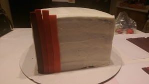 It's okay if the strips are a little taller than the cake.