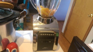 You'll want to measure out about 1 cup of sliced peaches as it will reduce in the blender a bit.